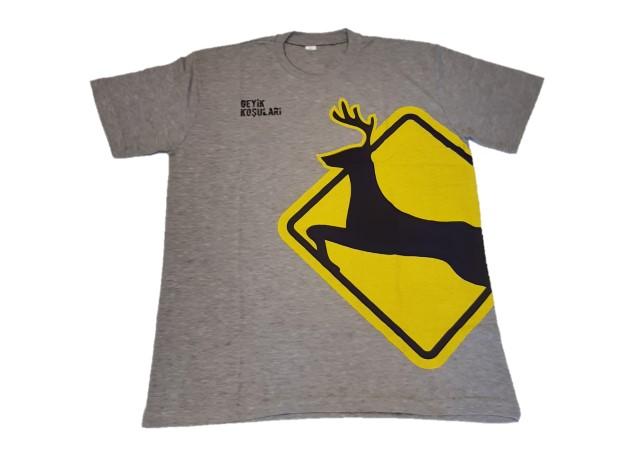 Geyik Koşuları Kısa Kollu Gri Erkek Pamuklu T-shirt